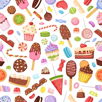 Desenhos animados doces doces deliciosas sobremesas padrão sem emenda queque sorvete de pirulito de chocolate