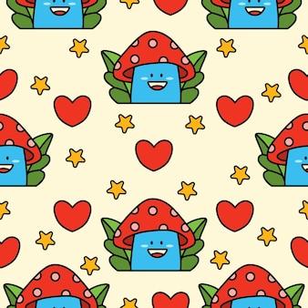 Desenhos animados doodle design de padrão sem emenda de cogumelo