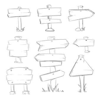 Desenhos animados doodle estrada de madeira assina vector set