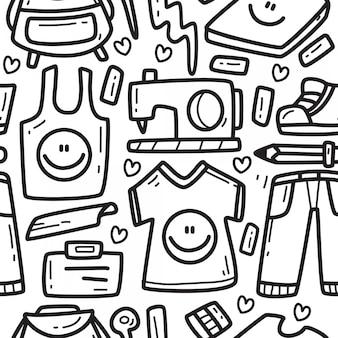 Desenhos animados doodle padrão de design de roupas