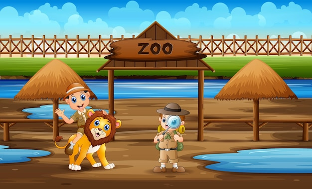 Desenhos animados dos garotos do zoológico com um leão no zoológico