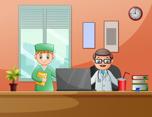 Desenhos animados dos médicos na sala do consultório