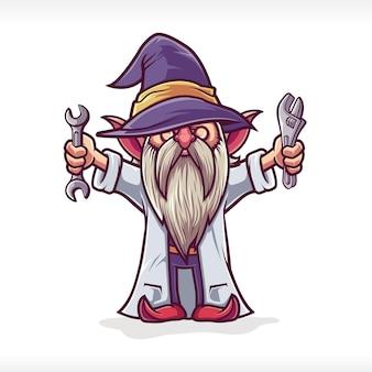 Desenhos animados dos personagens da mascote do professor anão gnomos