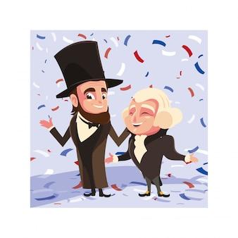 Desenhos animados dos presidentes george washington e abraham lincoln, dia do presidente