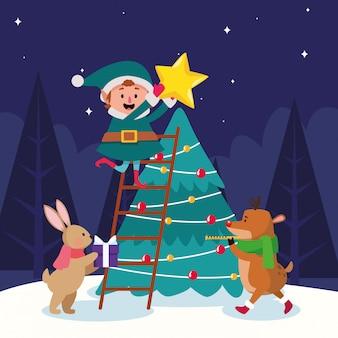 Desenhos animados duende de natal e animais em torno da árvore de natal durante a noite de inverno, colorido, ilustração