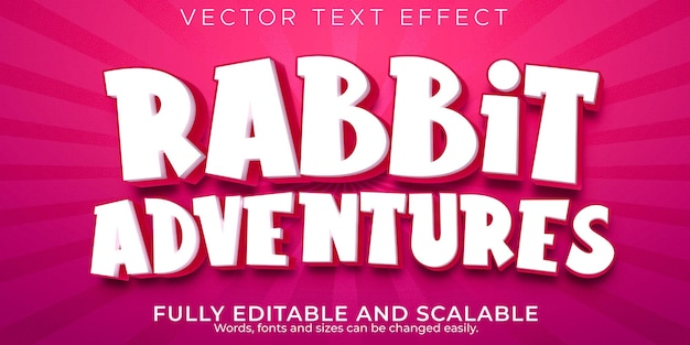 Desenhos animados editáveis com efeito de texto de aventuras de coelho e estilo de texto engraçado