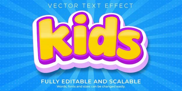 Desenhos animados editáveis com efeito de texto infantil e estilo de texto cômico