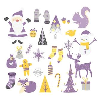Desenhos animados elementos de natal para decoração