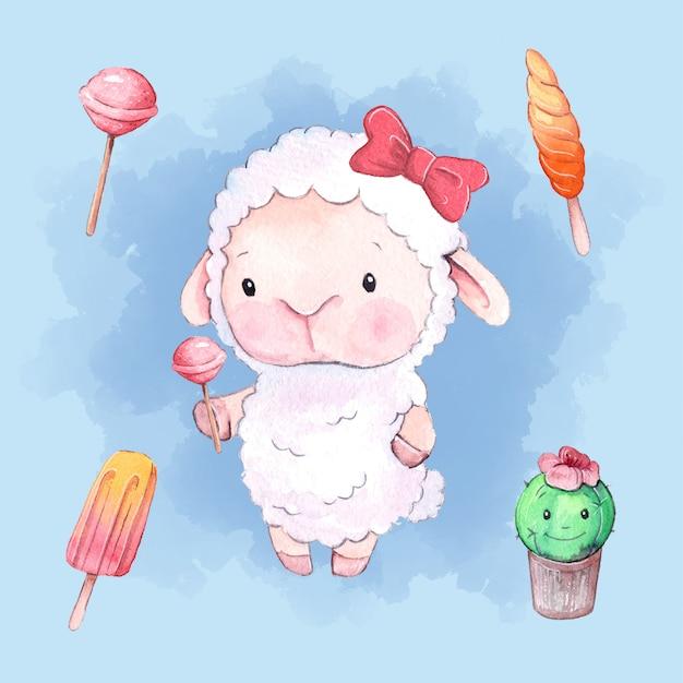 Desenhos animados em aquarela ovelha conjunto com doces