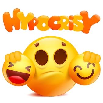 Desenhos animados emoji sorriso amarelo personagem hipocrisia.