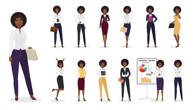 Desenhos animados empresária feminino em pé em posições diferentes. conjunto de caracteres de mulher.