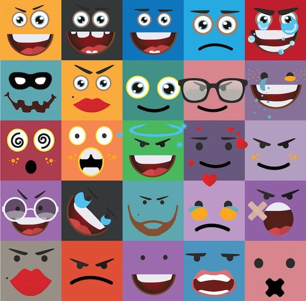 Desenhos animados enfrenta vetor de expressões