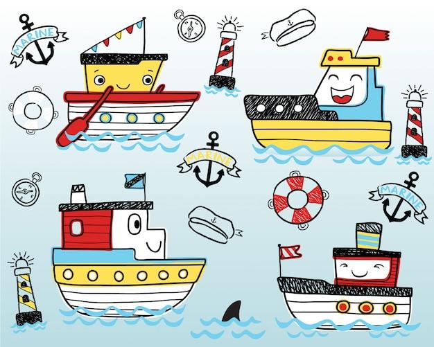 Desenhos animados engraçados agradáveis dos navios