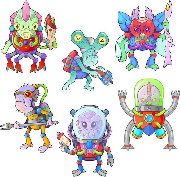 Desenhos animados engraçados aliens