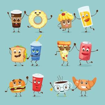 Desenhos animados engraçados com comida ilustrações vetoriais - waffles, cupcake, croissant, xícara de chá e café, ovos mexidos, hambúrguer, cachorro-quente e batatas fritas e outros com emoções Vetor Premium