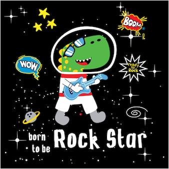 Desenhos animados engraçados da estrela do rock