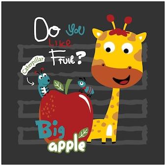 Desenhos animados engraçados de animais com girafa bebê e amigos
