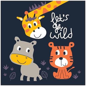 Desenhos animados engraçados de animais de girafa e amigos