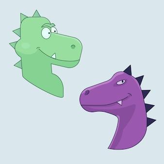 Desenhos animados engraçados de dinossauros verdes e roxos com impressão de tatuagem