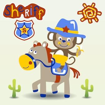 Desenhos animados engraçados de xerife
