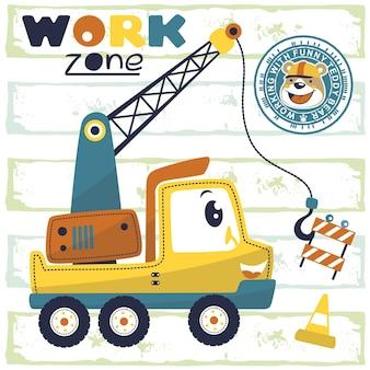 Desenhos animados engraçados do caminhão da grua com o trabalhador bonito