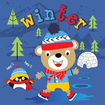 Desenhos animados engraçados do feriado de inverno