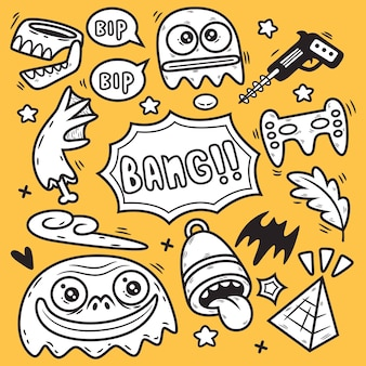 Desenhos animados engraçados do monstro abstrato. ilustração doodle