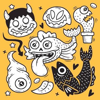 Desenhos animados engraçados do monstro. ilustração doodle