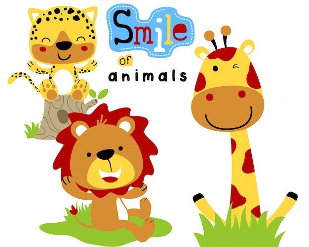 Desenhos animados engraçados dos animais do safari