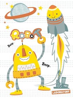 Desenhos animados engraçados dos robôs