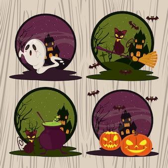 Desenhos animados engraçados e assustadores do dia das bruxas redondos