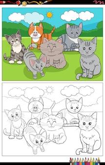 Desenhos animados engraçados gatos personagens para colorir página