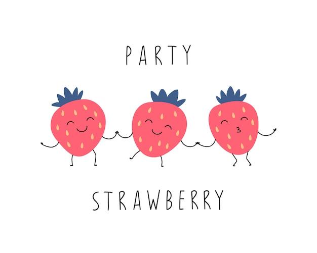 Desenhos animados engraçados morangos estão dançando.