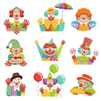 Desenhos animados engraçados, personagens de palhaços amigáveis, ilustrações coloridas em um fundo branco