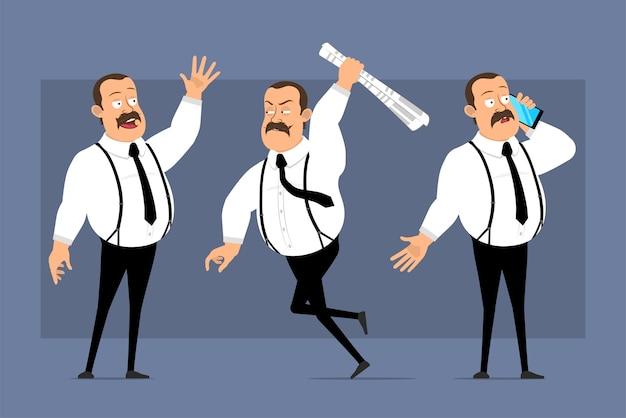 Desenhos animados engraçados posturas de trabalhador de escritório isoladas em azul
