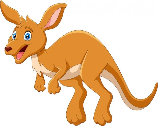 Desenhos animados engraçados pulando feliz canguru