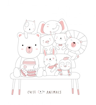 Desenhos animados esboçar o animal bebê fofo em uma cadeira. estilo desenhado à mão.