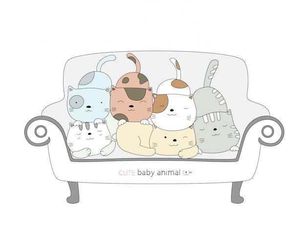 Desenhos animados esboçar o animal de bebê gato bonito em uma cadeira. estilo desenhado à mão.