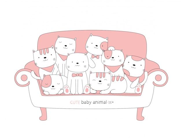 Desenhos animados esboçar o animal de bebê gato bonito em uma cadeira rosa. estilo desenhado à mão.