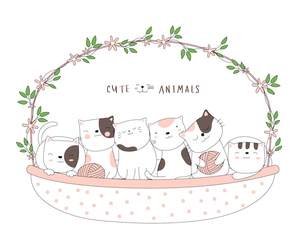 Desenhos animados esboçar o animal gato bebê fofo com uma cesta de flores estilo desenhado à mão.