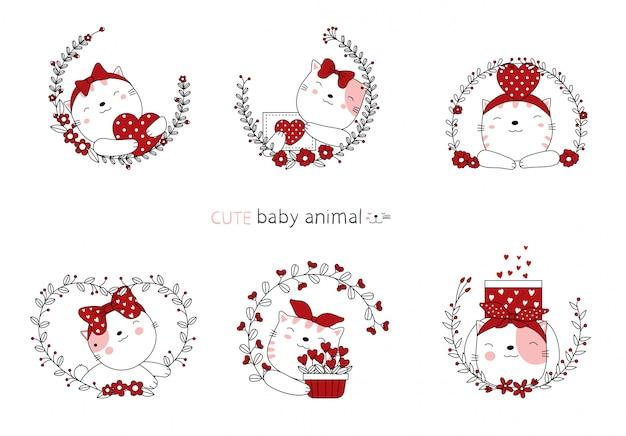 Desenhos animados esboçar os animais de bebê gato adorável com flor.