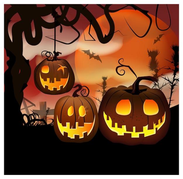 Desenhos animados esculpidas abóboras na ilustração de noite
