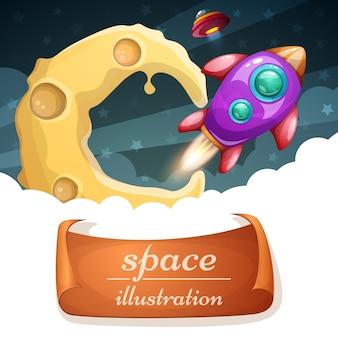 Desenhos animados espaço illustraton