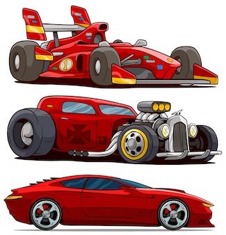 Desenhos animados esporte moderno vermelho e carros antigos retrô
