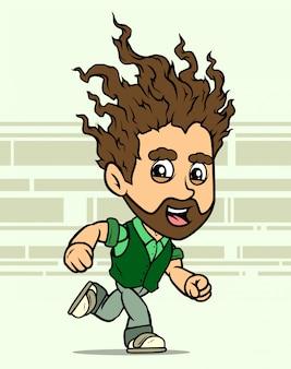 Desenhos animados executando o personagem de menino barbudo de cabelos longos