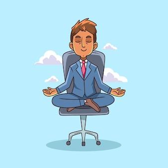 Desenhos animados executivos meditando ilustração