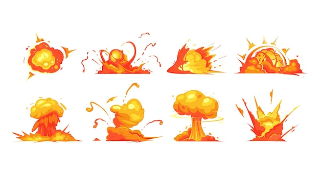 Desenhos animados explosões de bomba de dinamite e bombas atômicas nuvem ícones isolados.