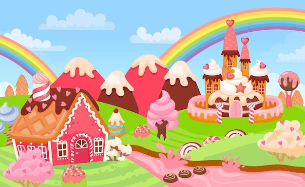 Desenhos animados fantasia doce terra paisagem com doce castelo. casas de pão de gengibre do reino de conto de fadas, árvores de sorvete e cena de vetor de rio de leite. saborosa casa assada, colinas cremosas e arco-íris