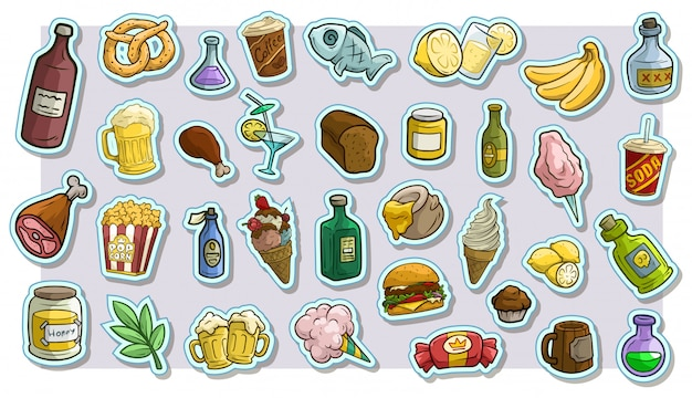 Desenhos animados fast food e bebidas vetor adesivos