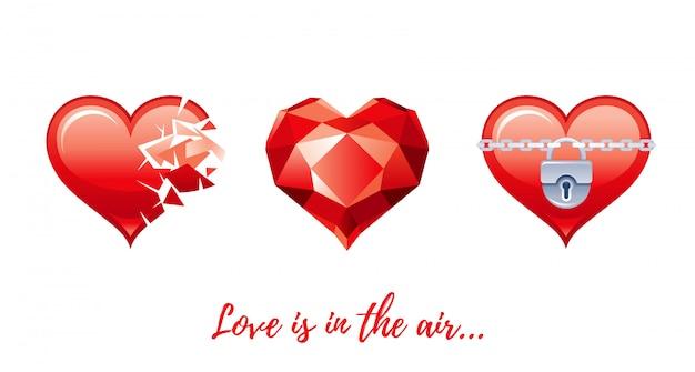 Desenhos animados feliz dia dos namorados com corações amor.